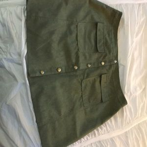 Dresses & Skirts - Suede Olive button down skirt